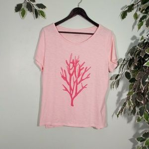 Talbots Coral and Bead front T-Shirt